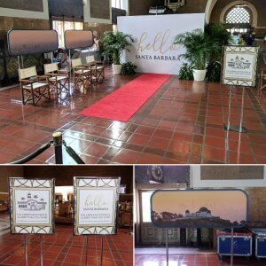 We set up an 8' x 12' fabric media wall in the entry of Union Station to inform people of Hello Santa Barbara experience!