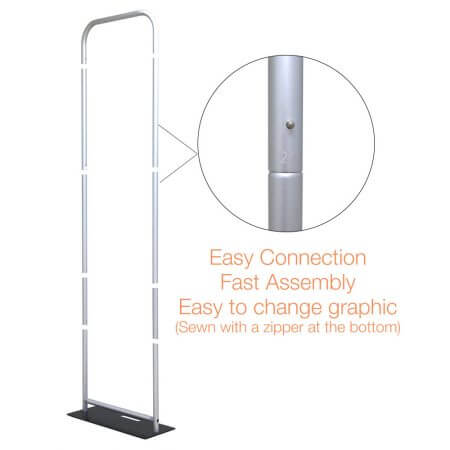 5 by 7 and a half foot double-sided graphic display stand