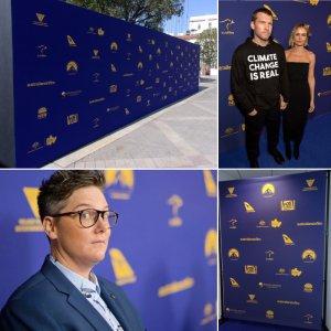 An 8' x 6' backdrop for Australians in Film Awards