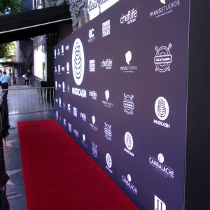 8' x 20' step and repeat media wall for the Musicash launch party
