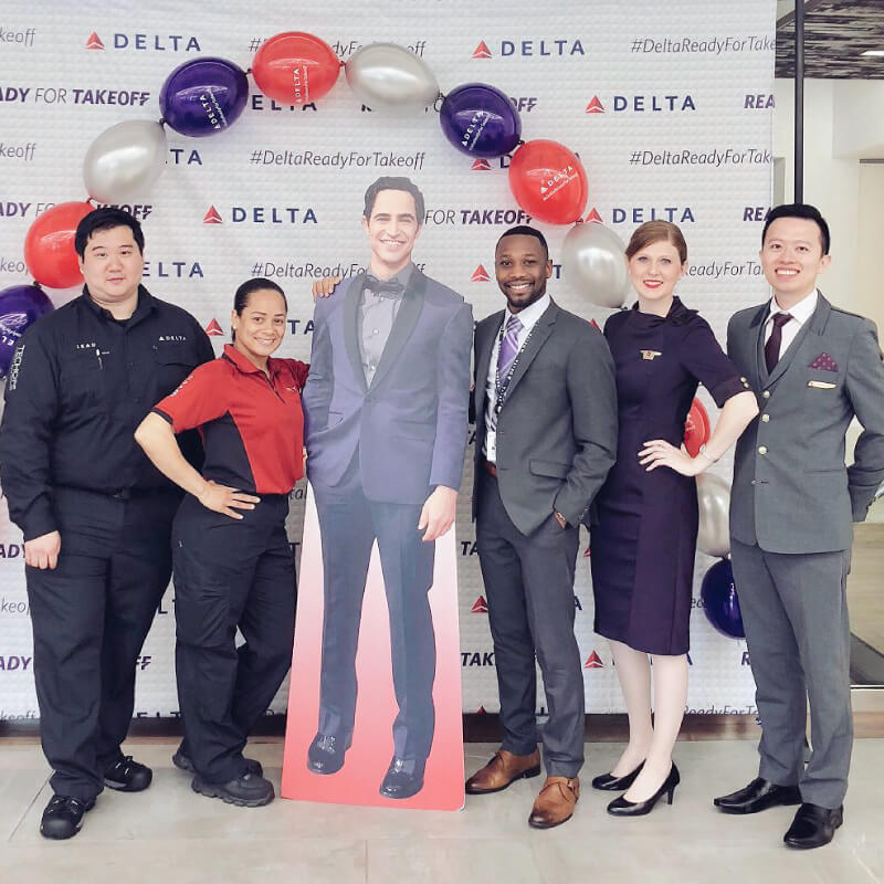We printed this 8' x 8' step and repeat backdrop for Delta's new wardrobe launch, #DeltaReadyForTakeoff!