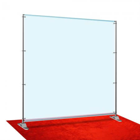 Fabric stretch display telescope 8' x 8' silver stand.