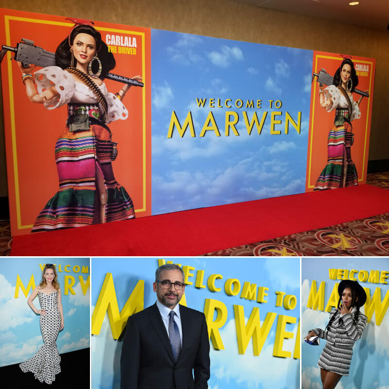 We printed and installed this stunningly vibrant 8' x 20' media wall for the premiere of 'Welcome to Marwen'.