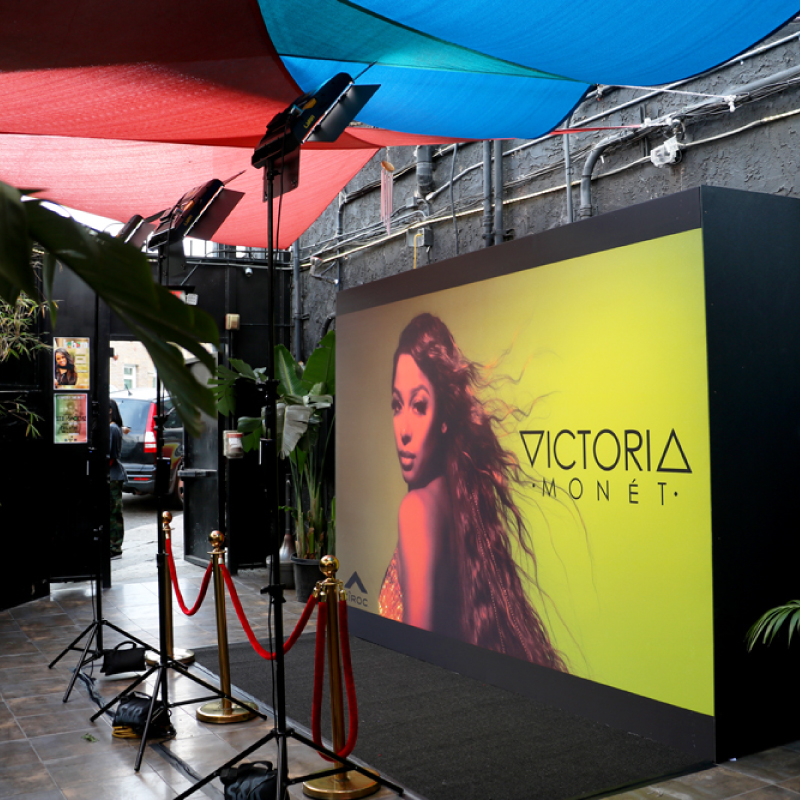 Beautiful media wall for a stylish Victoria Monet Event at Los Globos Nightclub.