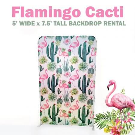 Double-sided Flamingo-Cactus backdrop rental! 5' Wide X 7.5'