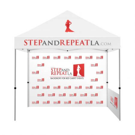 Custom prints on your 10' standard Zoom popup tent! Great for tradshows!
