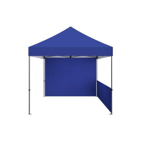 Standard Zoom 10' canopy tent with full back wall and half side wall.