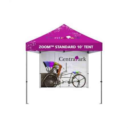 Standard Zoom 10' canopy tent with full back wall.