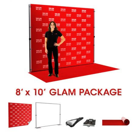 The Glam package includes an 8' x 10' backdrop, pipe and base stand, carry bag and an 8' x 10' red carpet.