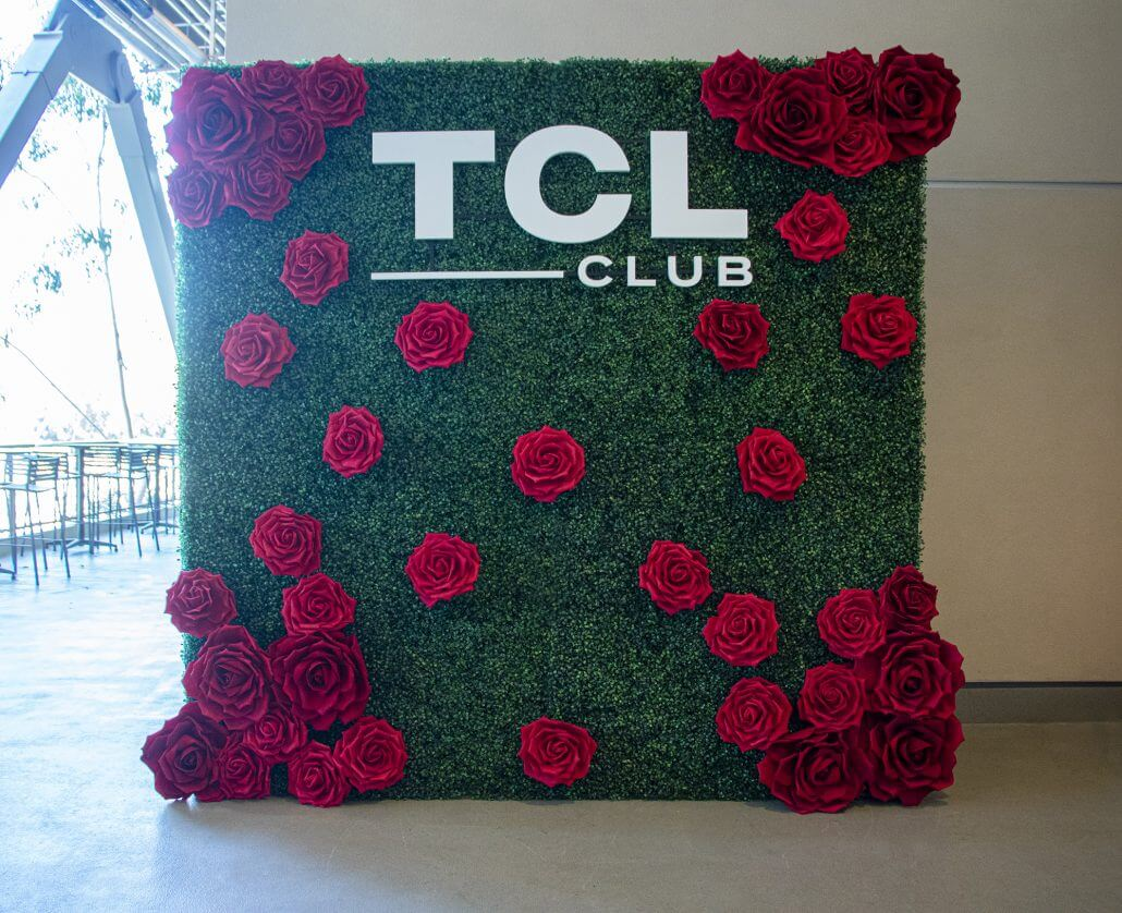 Beautiful hedge wall with big red roses and custom letters!