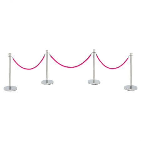Pink velvet rope with four stanchions