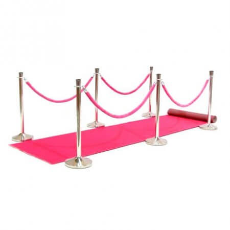 Pink carpet set up with velvet ropes and stanchions