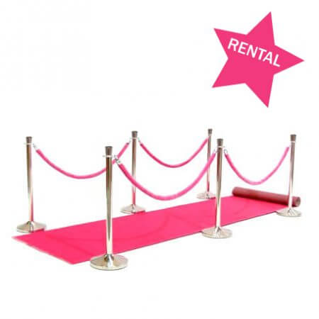 Pretty in pink add on rental package. Pink carpet, stanchions and pink ropes inculded.