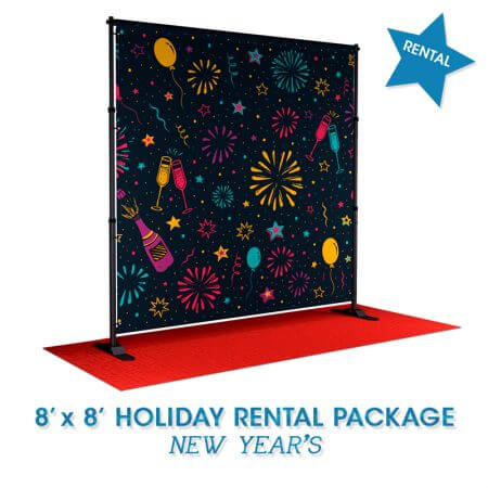 Rent a holiday-themed backdrop! It comes with a backdrop, stand and red carpet.