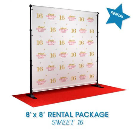 Sweet 16 rental backdrop
