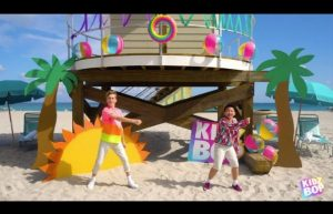 "Here's one of our custom pool floats for the KidzBop ""Dance Monkey"" video!"