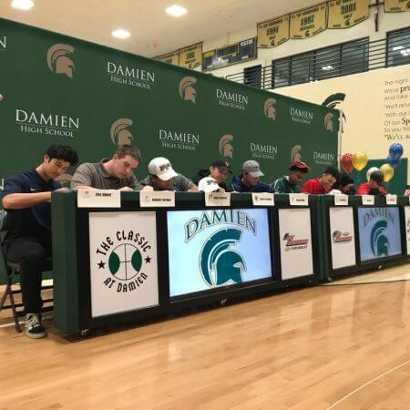 8' x 20' backdrop on a pipe and base stand for an event at Damien High School.