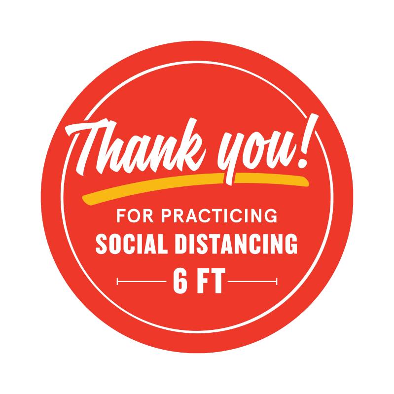 social distance floor sticker red