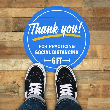 social distancing floor decal blue
