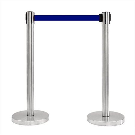 blue retractable stainless steel stanchion