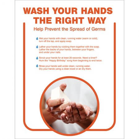 wash your hands the right way 22x28 covid poster