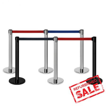 Retractable Belt Barrier Stanchion Stainless Steel Black Belts-Crowd Control Barrier Lines