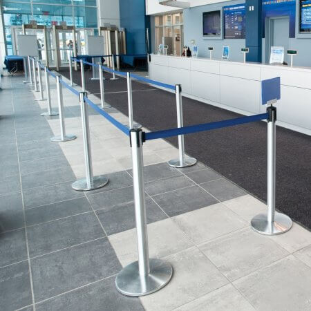 blue belt retractable belt barriers queue