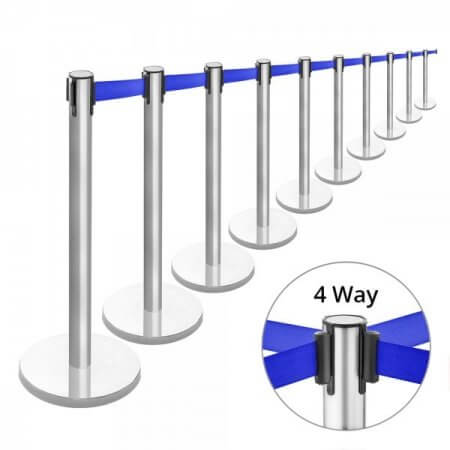 brushed stainless steel blue retractable belt barriers