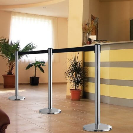 retractable black belt stanchions chrome