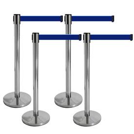 retractable blu belt barrier standions
